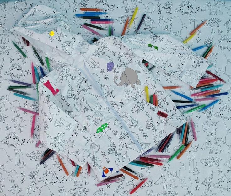 Camperita rompeviento de tela de papel. Pintas, y listo! te aburriste, lavarropas y volvés a pintar!