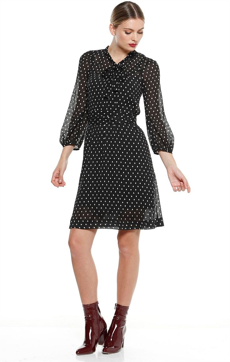 CINEMA MESSINA SPOT BOW NECK TIE FLARED SLEEVE TUNIC DRESS IN BLACK SPOT