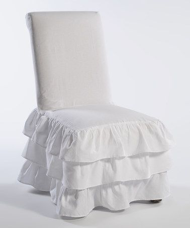 White Three-Tier Ruffle Dining Chair Slipcover shabby chic