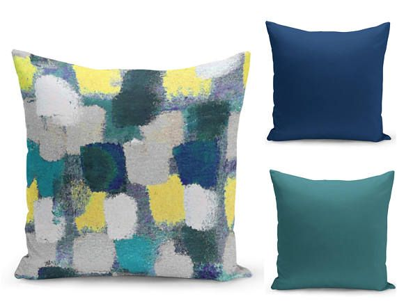 Colorful Pillow Covers Teal Navy Yellow Grey  Home Decor