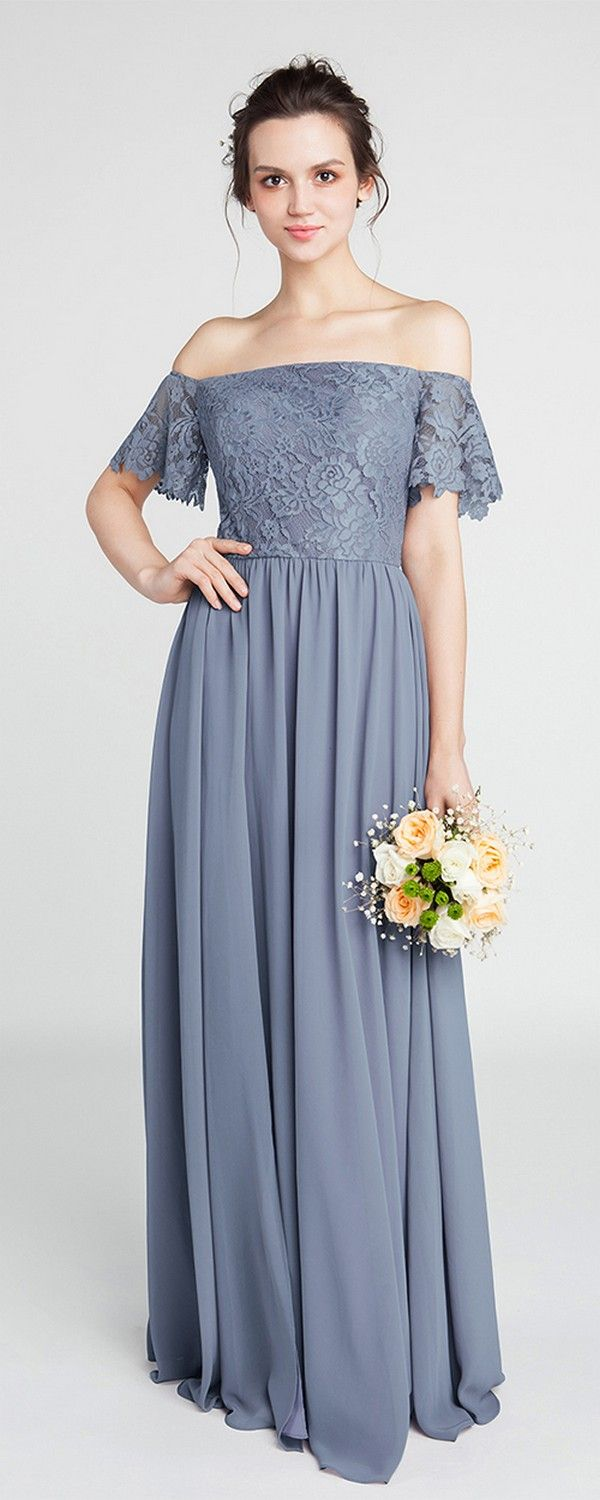 Dusty Blue Lace Off-the-Shoulder Bridesmaid Gown with Chiffon Skirt #wedding #bridesmaiddresses #weddingdresses #weddings2018