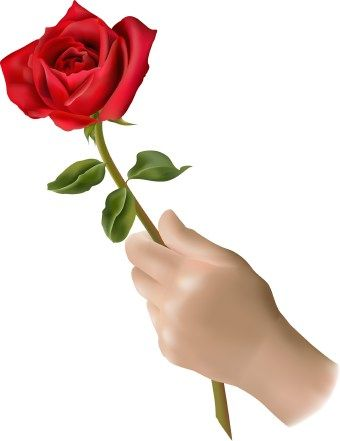 Pink Roses Clip Art Free | Clip art of a hand holding a single red rose flower.