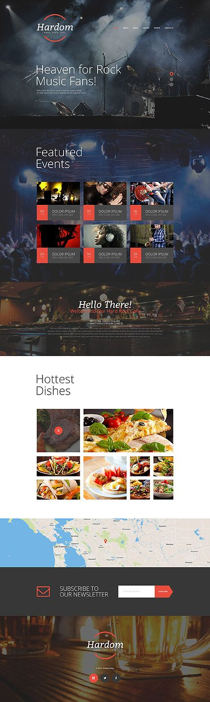 Rock & Music Cafe #website #template. #themes #business #responsive #websitethemes