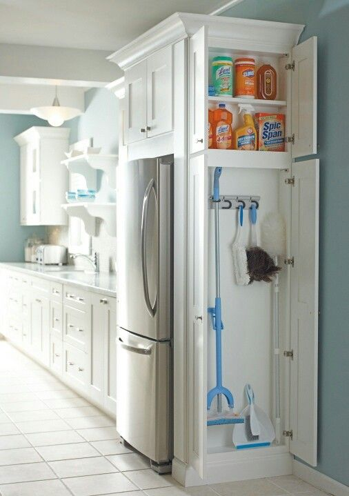 Storage if your refrigerator is on the end of a counter. Long handled broom, mop and cleaning supplies have a thin but wide area.