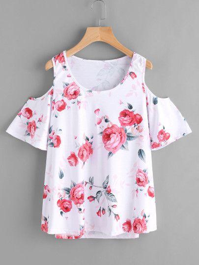Top con hombros abiertos con estampado floral