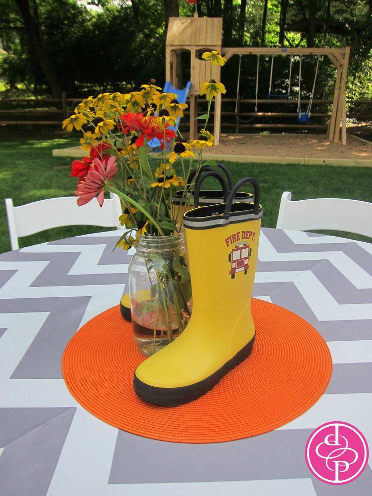 Table centerpiece fireman rain boots found on ebay