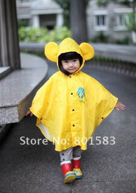 Free shipping Lovely children raincoat/poncho cape/Bat sleeve raincoat /Kids Rain Coat/Children's rainwear/Baby Raincoat 1pcs US $25.77