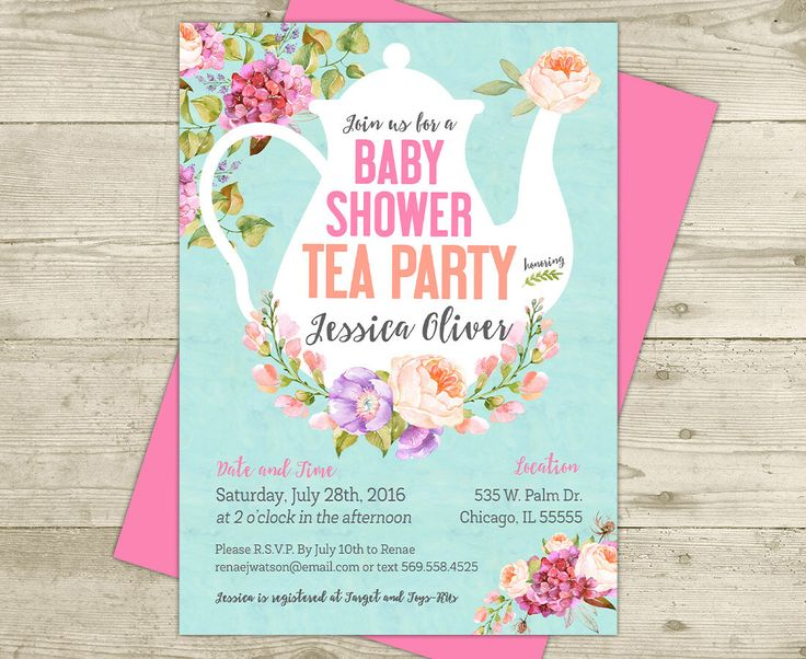 tea party baby shower invitation floral shabby girl baby shower pink and