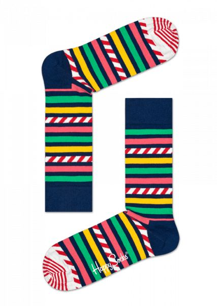 Voel je je vrolijk, flirterig of speels? Stem je garderobe af op je stemming met dit paar streep-en-streep-sokken. Deze streepsokken hebben een uniek ontwerp en brengen stijl naar een geheel nieuw niveau door één streeppatroon op het andere te stapelen. De groene, gele, blauwe en rode tinten zijn levendig en het gekamde katoen is glad en zacht voor intens comfort. Verkrijgbaar in maten voor dames en heren.