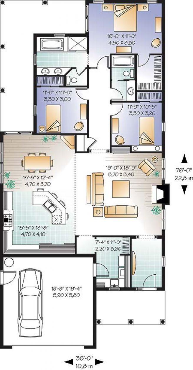 Plan De Rez De Chaussée Bungalow De 3 Chambres Avec Plafond De 9pi,