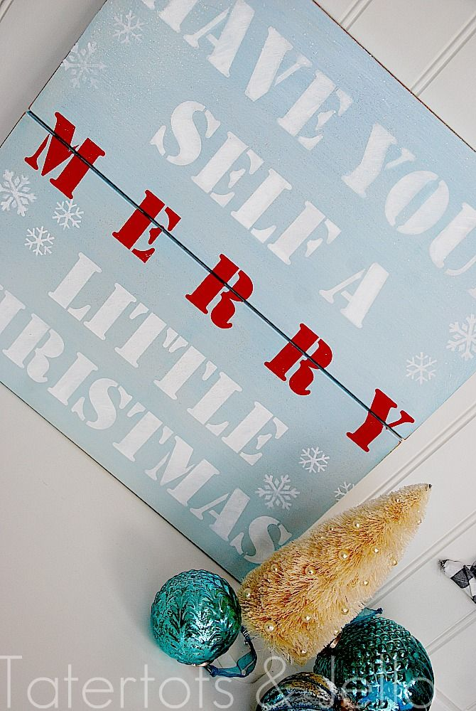 Have a favorite holiday saying? Make it part of your holiday decor with this Christmas Stencil Sign tutorial! #QVCholiday