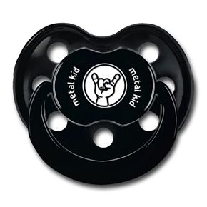 Official Metal Kids logo baby Dummy/Pacifier for the little rocker in your life.