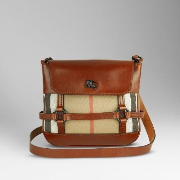 Burberry Vintage Check Crossbody Bag in Tan