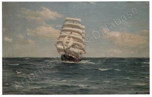 a clipper running under full sail