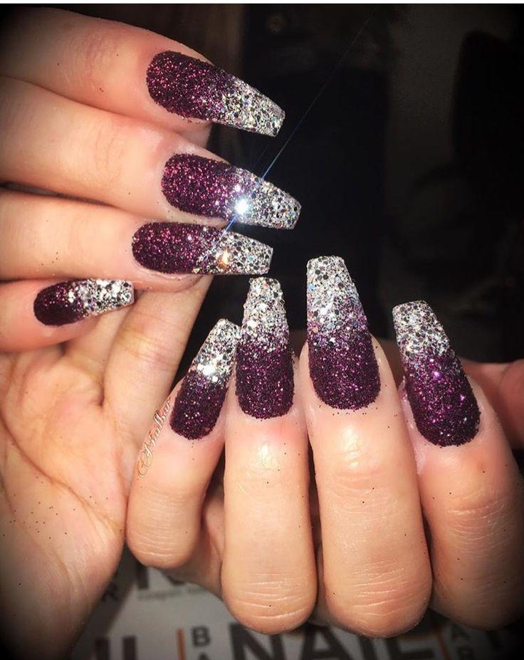 silver and garnet nails gel