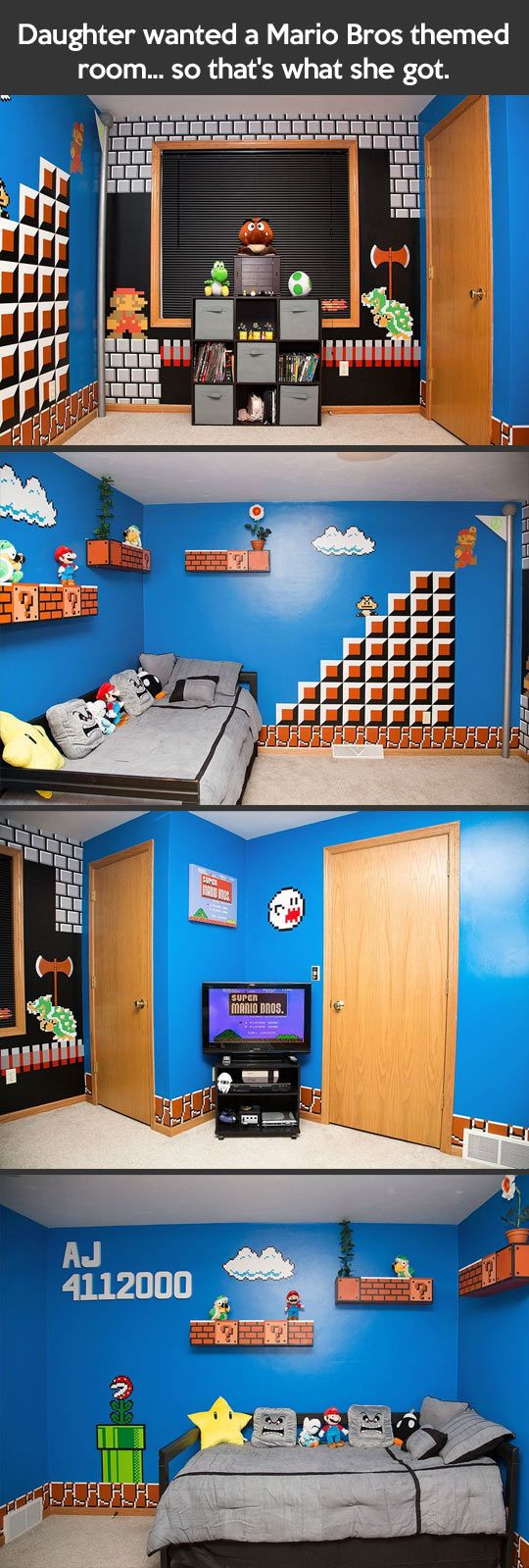 Mario Bros themed room… They get the best parent award!! How freakin awesome is this room?!