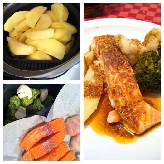 Cozinhar em pirâmide - 3 em 1   Refeição completa ao mesmo tempo.        Lombos de salmão com molho de paparika e legumes a vapor e batata ...