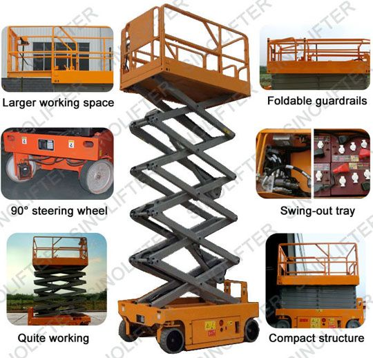 14m electric scissor man lift is powered by battery. With low noise when working. And  pendant control allows user to control lift not only on work platform, also on ground. (http://sinolifter.com/self-propelled-scissor-lift/14m-electric-scissor-man-lift.html)