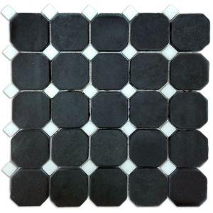 Macedonian Black, Kavala Semi White mozaika_łazienkowa_mosaic_athena_czarna_biała_kamienna_mosaico_warszawa