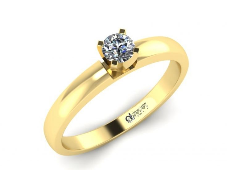 Inel de logodna ATCOM Lux cu diamant BIANCA aur galben