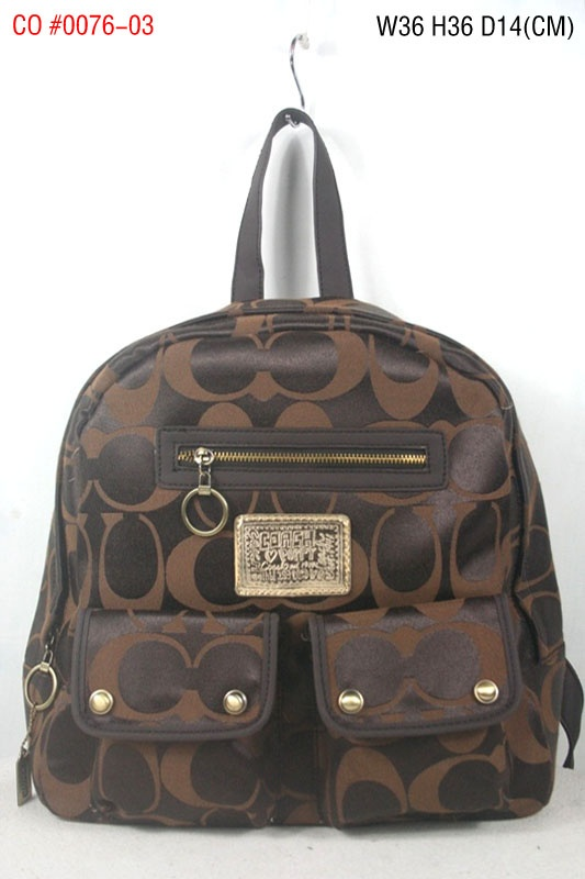 Coach Signature Multi Pocket Backpack Brown