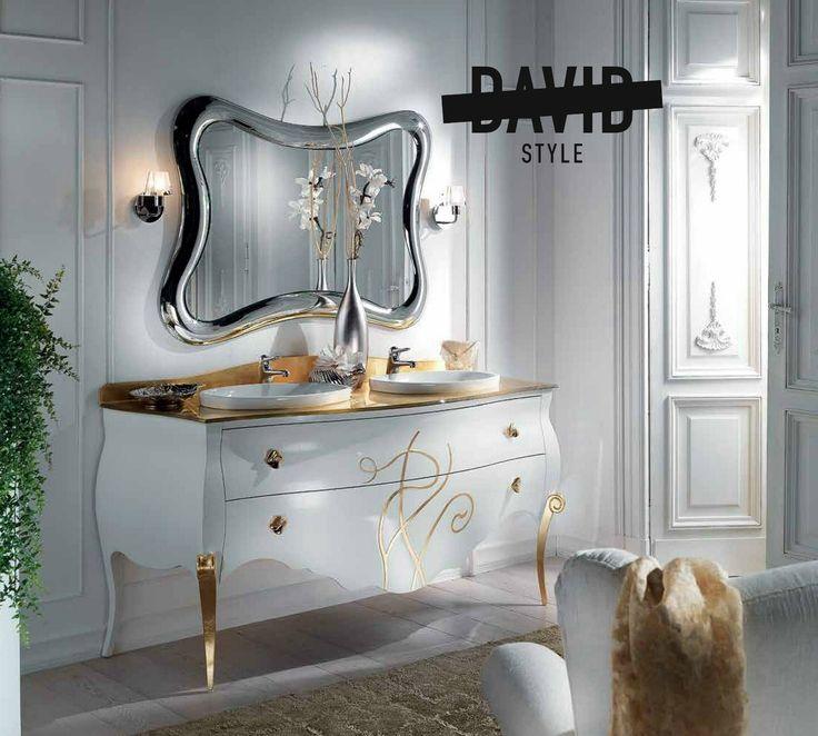 Baroque bathroom furniture made in Italy Bagno bombato doppio lavabo #Baroquebathroomfurnitureitaly #bagnobombatodoppiolavabo
