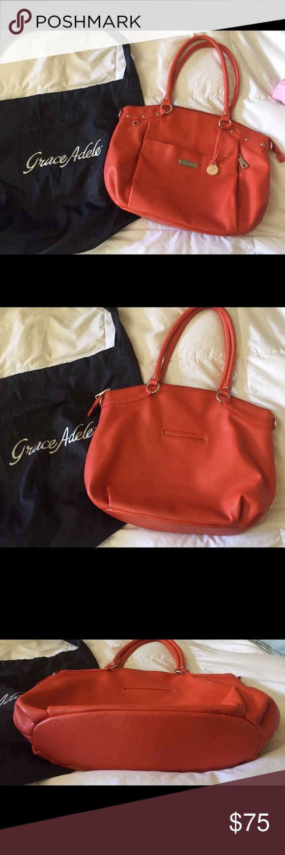 """Purse Tangerine shoulder bag brand new with duster. Perfect for spring , summer, and fall! Very spacious, many pockets for your special assortments. Leather Grace Adele """" retired"""". Have fun with this one! Grace Adele Bags Shoulder Bags"""