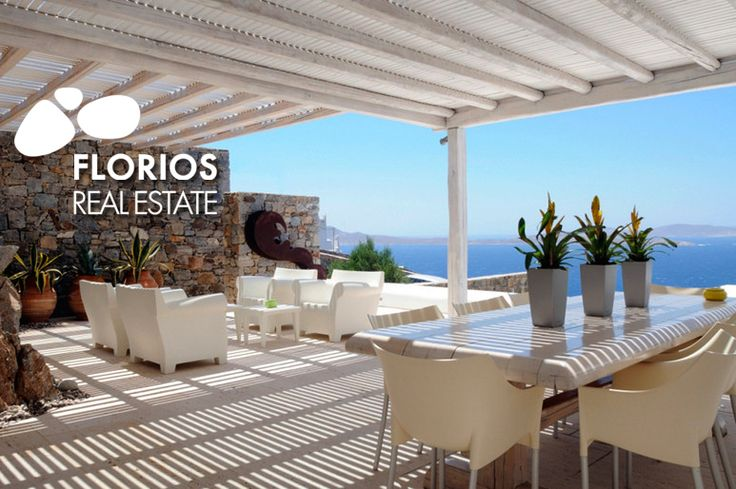 Luxurious Villa for Sale on Mykonos island Greece. Spectacular view to Delos and the magnificent Mykonian sunset. In & outdoor pool. Privacy! Each room has access to its own private terrace. http://www.florios.gr/en/Villas-For-Sale-Mykonos-Island-Greece.html