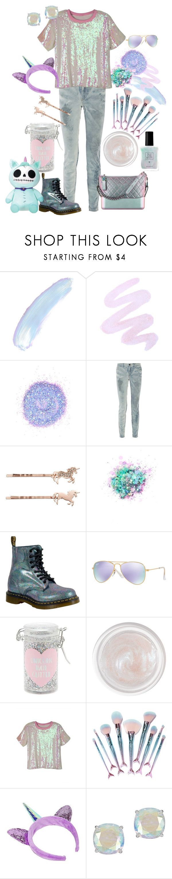 """""""You literally have NO reason not to be a unicorn."""" by millarca ❤ liked on Polyvore featuring Winky Lux, The Gypsy Shrine, Alexander Wang, LC Lauren Conrad, Chanel, Dr. Martens, Ray-Ban, Forever 21, Pat McGrath and WithChic"""
