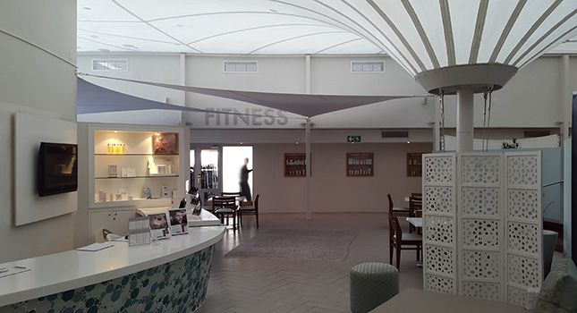 Indoor stretch tent installation in the foyer of for the Radisson Blu Hotel Waterfront in Cape Town, South Africa.
