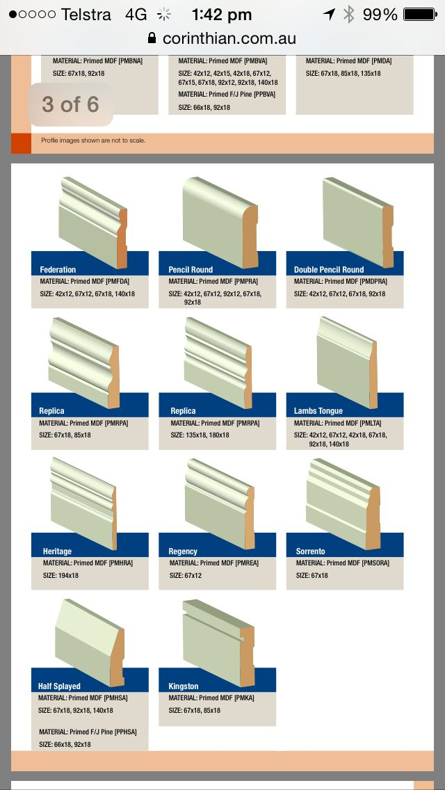 "Corinthian (VIC) skirting board collection. Complimentary to ""Aria"" Cornice >> Lambs Tongue / Berwick / Half Splayed ?"