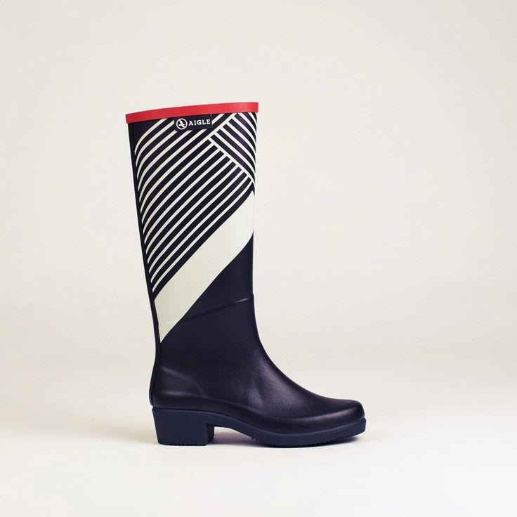 bottes caoutchouc marine/graphic miss juliette print femme - aigle 1