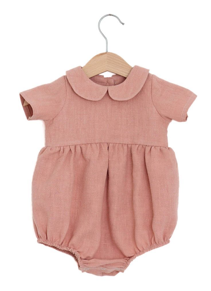 7675bb15a1f3 Handmade Linen Baby Romper With Peter Pan Collar ...