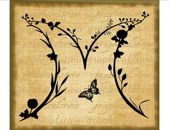 Calligraphy alphabet monogram letter m nature butterfly