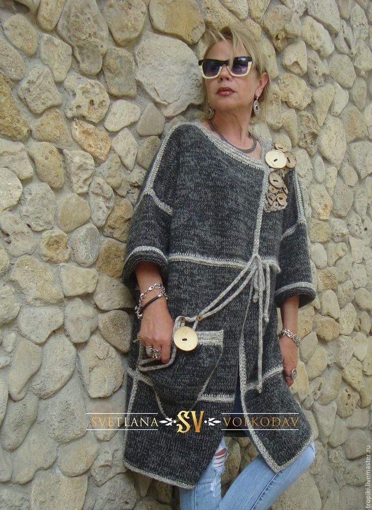Купить Пальто вязаное с пуговицами авторское - серый, пальто, вязаное пальто…