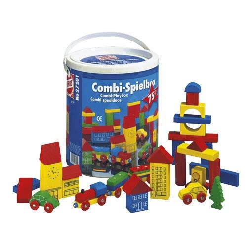 --- speelstad --- Met deze gekleurde grote blokken kunnen de kinderen een echte stad bouwen. Is de stad gebouwd dan kan er onder andere gespeeld worden met de auto's en een trein met wagonnetjes. Plezier verzekerd. Verpakt in een kartonnen doos.   Inhoud:  75 elementen.     522158