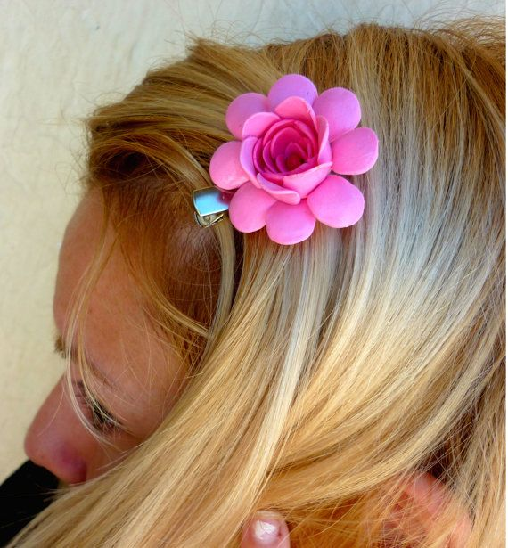 pink flower hair cliphair accessorisepolymer by jewelryfoodclay