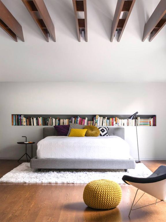 love the built-in bookcase and the big shaggy rug (to eliminate echos and noise), hate the beams