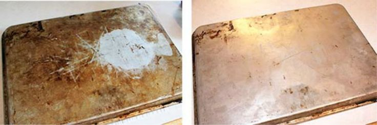 Want those old cookie sheets to sparkle like new again?  Take a mixure of 1/4 cup baking soda and add enough hydrogen peroxide to make a paste. Next rub the paste all over your sheet in small little circles. Let it sit for 2-3 hours and then rinse. Like new again.