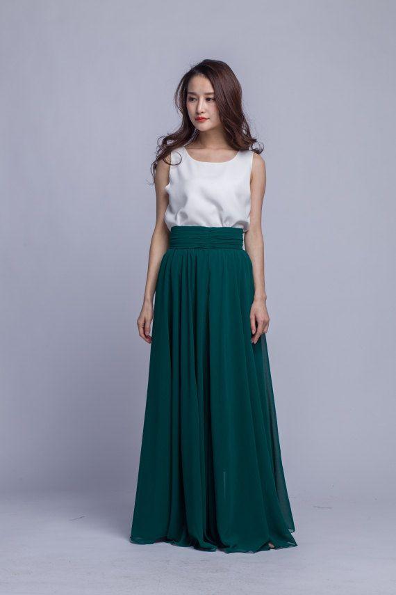 High Waist Long Skirt Chiffon Maxi Skirts Beautiful Pleated