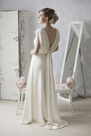 Jasmine An elegant ivory silk crepe dress cut on bias with interesting neckline and lovely draped low back.  - See more at: http://www.jendoherty.com  #couture #bridal #wedding