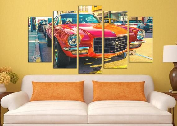 Chevrolet Chevelle SS Print on canvas Super sport car Red car Modern design Spain beach Home design