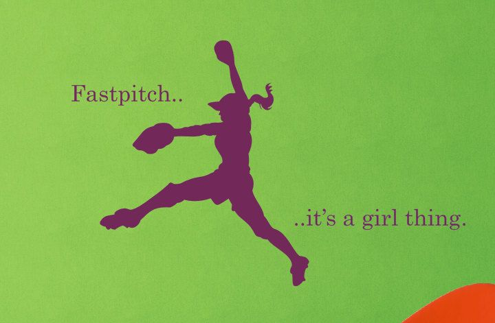 girl fastpitch softball vinyl wall decal softball vinyl Softball Room Decor softball chat rooms