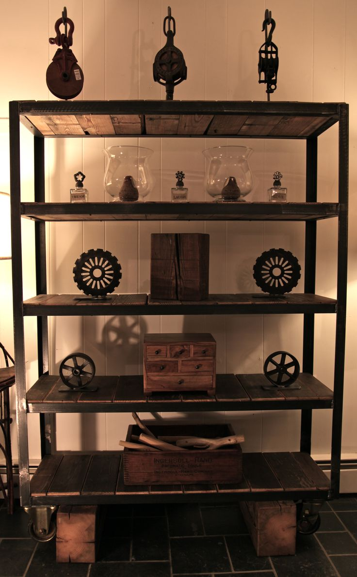 shelving unit with angle iron and reclaimed antique on fantastic repurposed furniture projects ideas in time for father s day id=11399