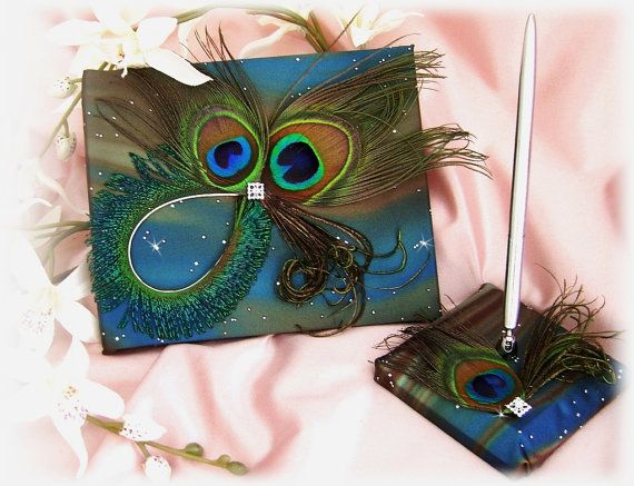 peacock feathers wedding guest book and pen set  teal