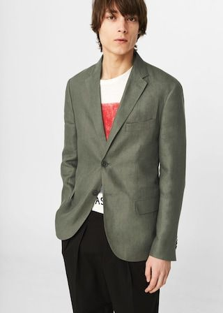 Slim-fit linen blazer -  Men | MANGO Man USA