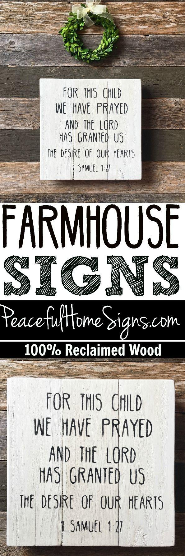 For this child I have prayed sign | Nursery sign | Farmhouse nursery sign | 1 Samuel 1:27 sign | Reclaimed wood nursery | Bible verse sign | Scripture nursery sign
