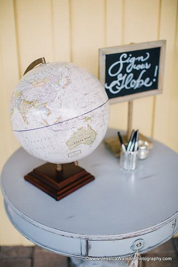 "Globe ""guest book""  Photo by Jessica Watson Photography"