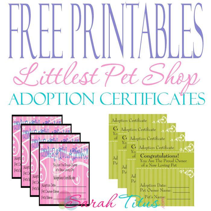 free printables  littlest pet shop adoption certificates