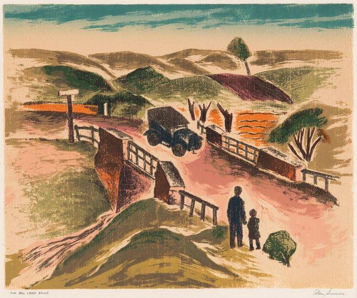 "Alan Robert Melbourne Sumner (1911-94) Australia:  Old Bell Street Bridge 1947 (aka ""Waiting For A Ride"")  (Coburg, Melbourne, Victoria"
